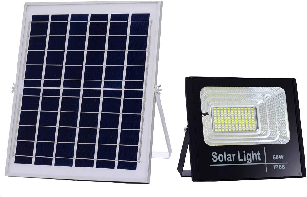 BSOD 60W Solar Flood Lights Outdoor Spotlight Max 7670LM IP66 Waterproof with Remote Controller,LED Floodlight Built-in Battery,Solar Panel Lamp for Garden,Street , Garage, Pathway, Pool, Deck, Yard