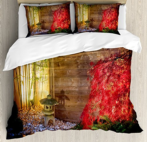 Bamboo Maple Bed - Ambesonne Garden Queen Size Duvet Cover Set, Japanese Stone Lantern and Red Maple Tree in an Autumnal Zen Garden Bamboo Trees, Decorative 3 Piece Bedding Set with 2 Pillow Shams, Multicolor