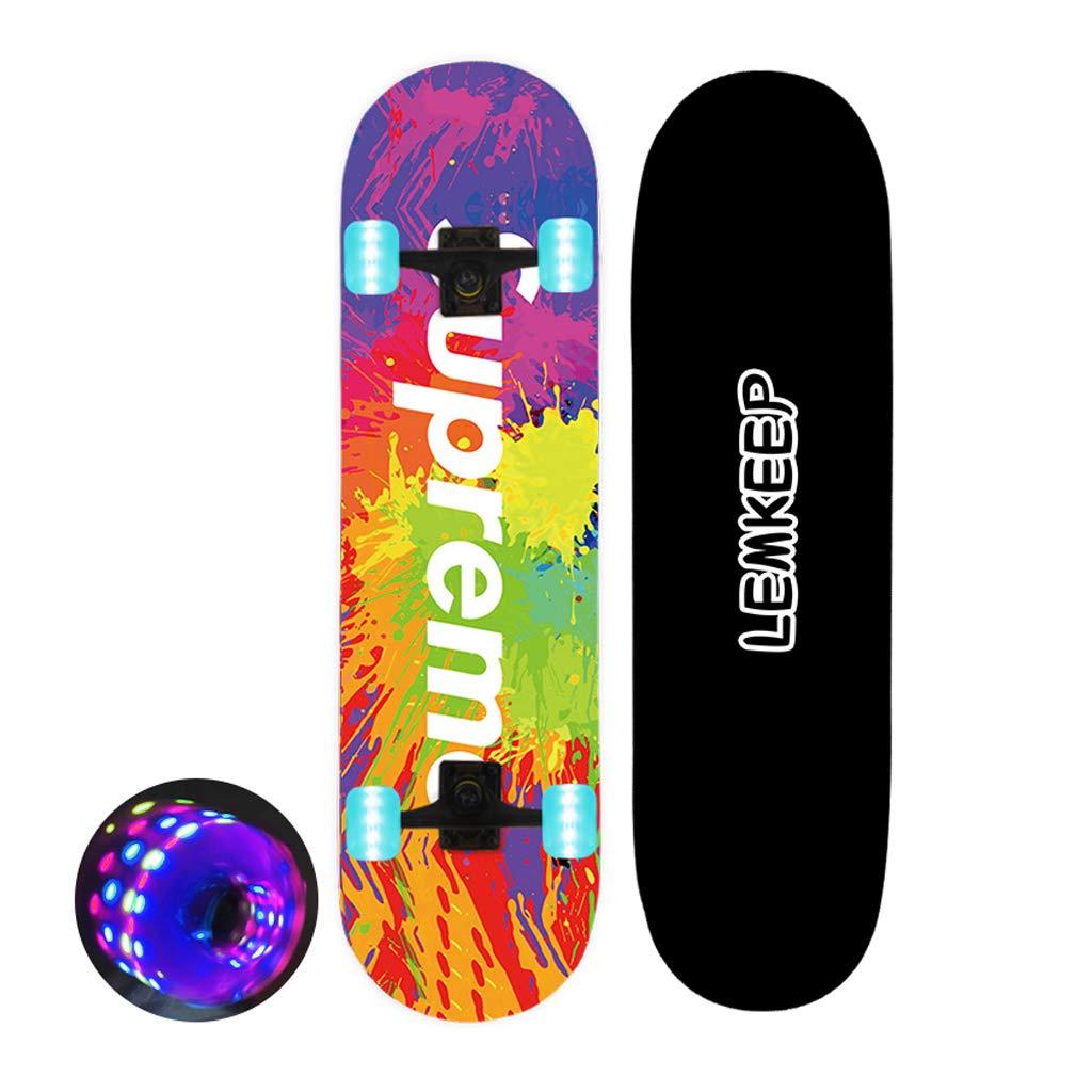 スケートボードツール 27 '' Pro Complete Skateboard with 7 Layer Maple Wood Cruiser Skateboard Deck for Kids Youths Adults with LED Light Wheels Wheels複数の色 デッキダンスロングボード #1