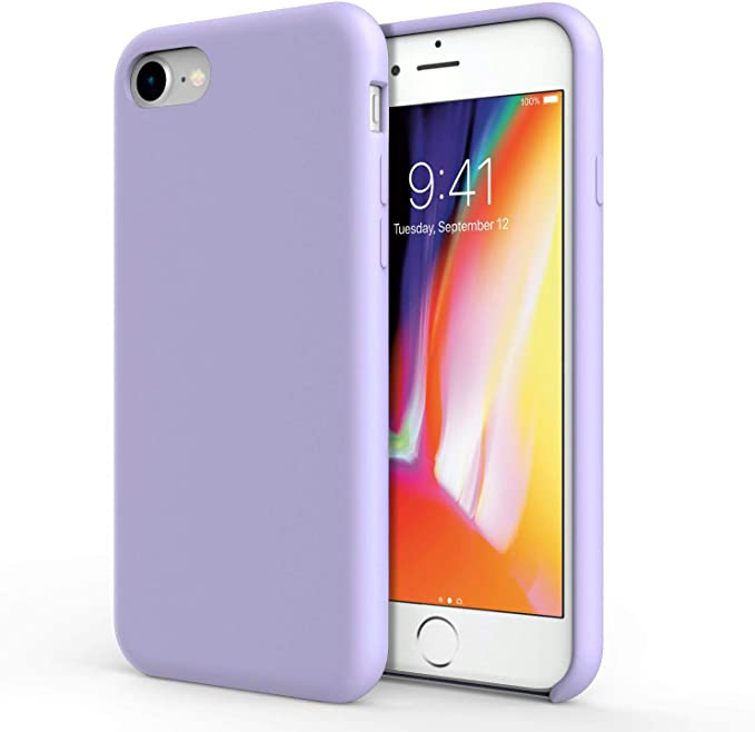 Olixar Silicone Case For Apple Iphone 8 Soft Touch Gel Rubber Full Body Protection Shockproof Cover Smooth Thin Protective Raised Lip Lilac Compatible With Iphone 8 7 Amazon Co Uk Electronics