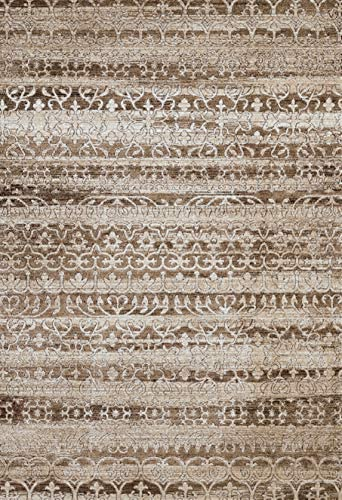 United Weavers of America Weathered Treasures Collection Classic Area Rug – 7ft. 10in x 10ft. 6in., Brown, Jute Backing Rug with Scrollwork Pattern