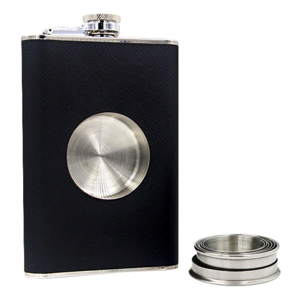 Petaca de 227 ml con vaso plegable integrado de 56 ml. Juego de vaso y embudo.