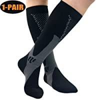 (2 Pairs) Compression Socks for Men & Women,Better Blood Circulation, Prevent Blood Clots, Speed Up Recovery BEST Graduated Athletic Fit for Running, Nurses,Medical Use,Shin Splints