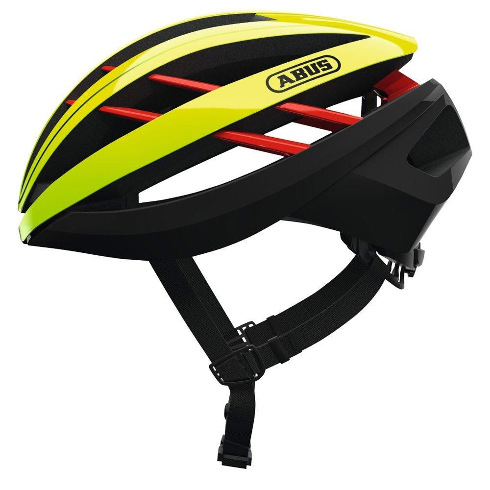 ABUS ヘルメット AVENTOR(アヴェントー) ロードヘルメット モビスターチーム使用モデル ネオンイエロー Mサイズ 【日本正規品/2年間保証】