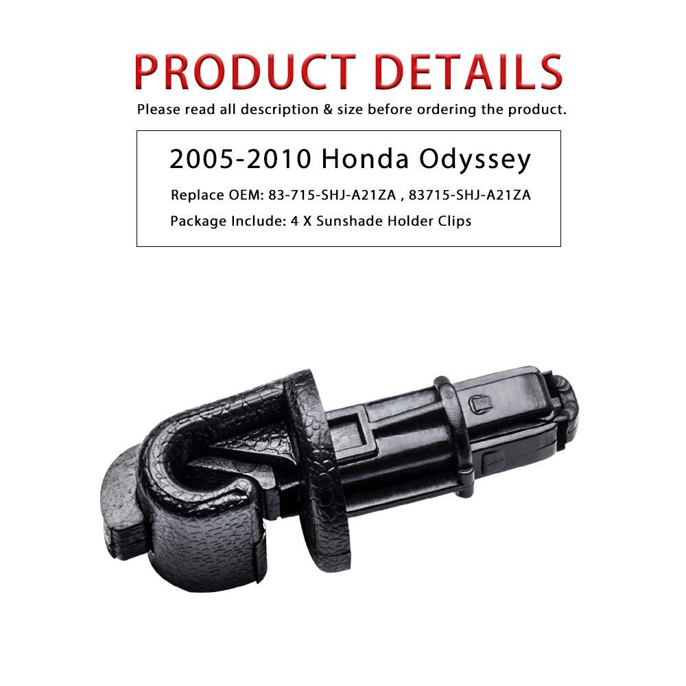 83715-SHJ-A21ZA Replace OEM OTUAYAUTO 4pcs Sun Shade Hook Sliding Door Clip Kit fits Honda Odyssey 2005-2010