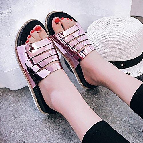 PENGFEI Chanclas de playa para mujer Zapatillas femeninas Moda sandalias inferiores gruesas del talón de la parte inferior gruesa antideslizante hueco del verano de la personalidad Cómodo y transpirab Purple