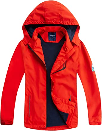YoungSoul Kids Outdoor Waterproof Jackets Raincoat with Detachable Hood