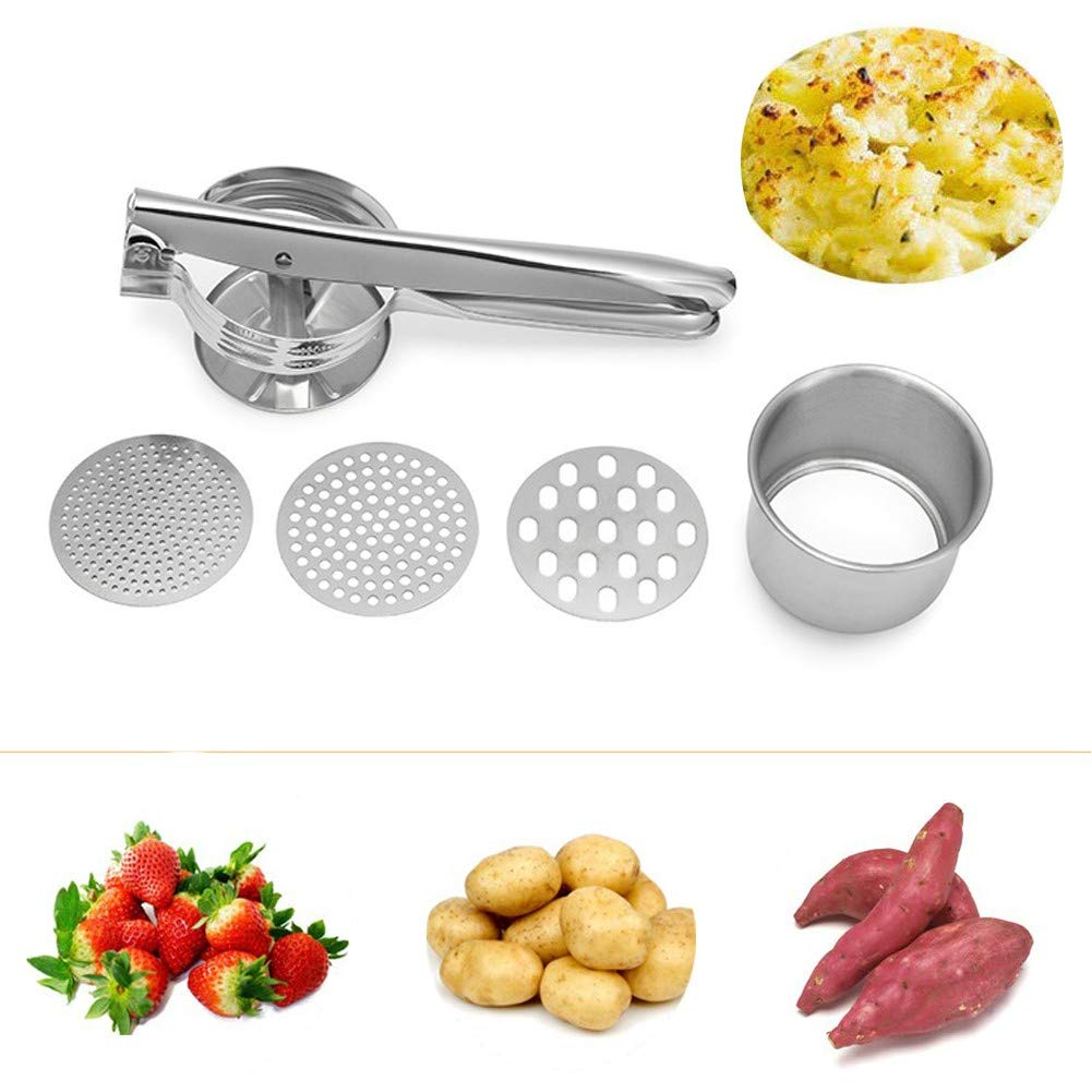 HQSF Multi-Function Steel Potato Squeezer,Manual Stainless Fruit Masher, Food Strainer, Lemon Squeezer, with 3 Interchangeable Discs, Fluffy Mashed Potato Making by HQSF