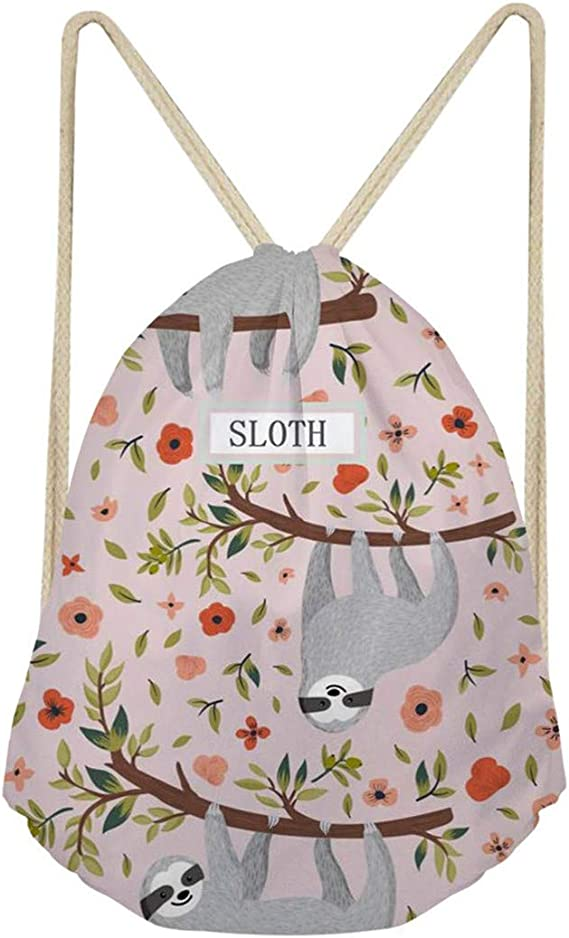 Showudesigns Denim Cat Print Children Drawstring Packsack Girls Running Sport Gymbag