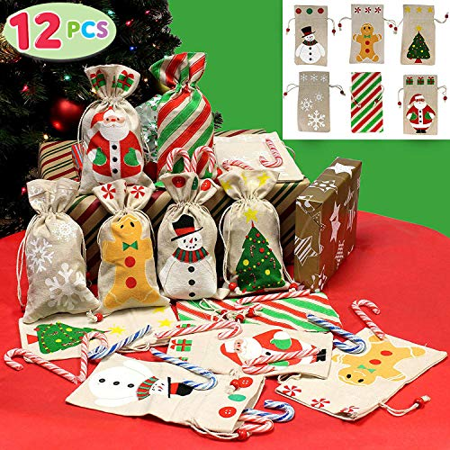 JOYIN 12 Pack of Christmas Canvas Holiday Gift Drawstring Bags Random Assortment for Christmas Party Favors Treats Santa Sack Sticking Bags Christmas Draw String Goodie Bags Party Favors