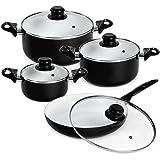 TecTake Set di pentole da 8 pezzi batteria padelle in ceramica cucina nero