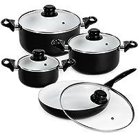 TecTake 8pcs Batterie de Cuisine Kit Casseroles Poêle Céramique Marmites - diverses couleurs au choix -