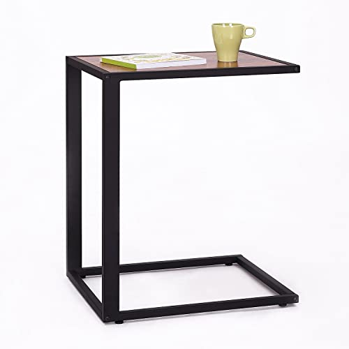 HomCom 26 Accent Sofa Couch Side Table C-Shape Laptop Snack Stand Coffee Tray- Black