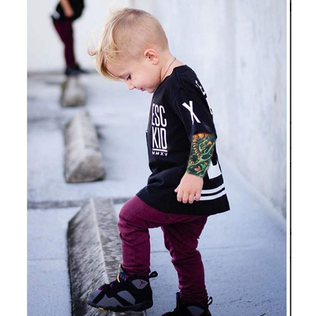 Mxssi Cool 1-7ans B/éb/é Gar/çons Filles T-Shirts Manches De Tatouage Enfants Maille /À Manches Longues Coton Tops Tees Enfants Et Tout-Petits Chemises V/êtements