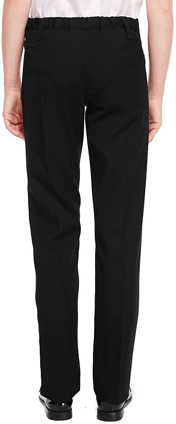 EX M/&S Girls Slim Leg School Trouser Ages 3-16 Black Grey Navy Adujstable Elasticated Waist