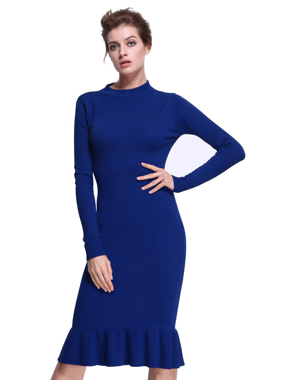 ninovino Women's Mock Neck Long Sleeve Mermaid Bodyon Dress Blue-M