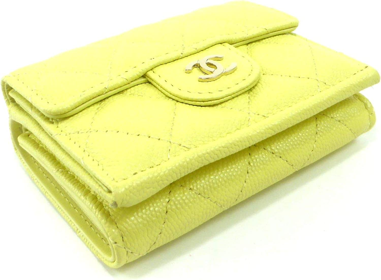 [シャネル] 三つ折り 財布 キャビアスキン マトラッセ クラシック スモール フラップ ウォレット AP0230 イエロー [並行輸入品]