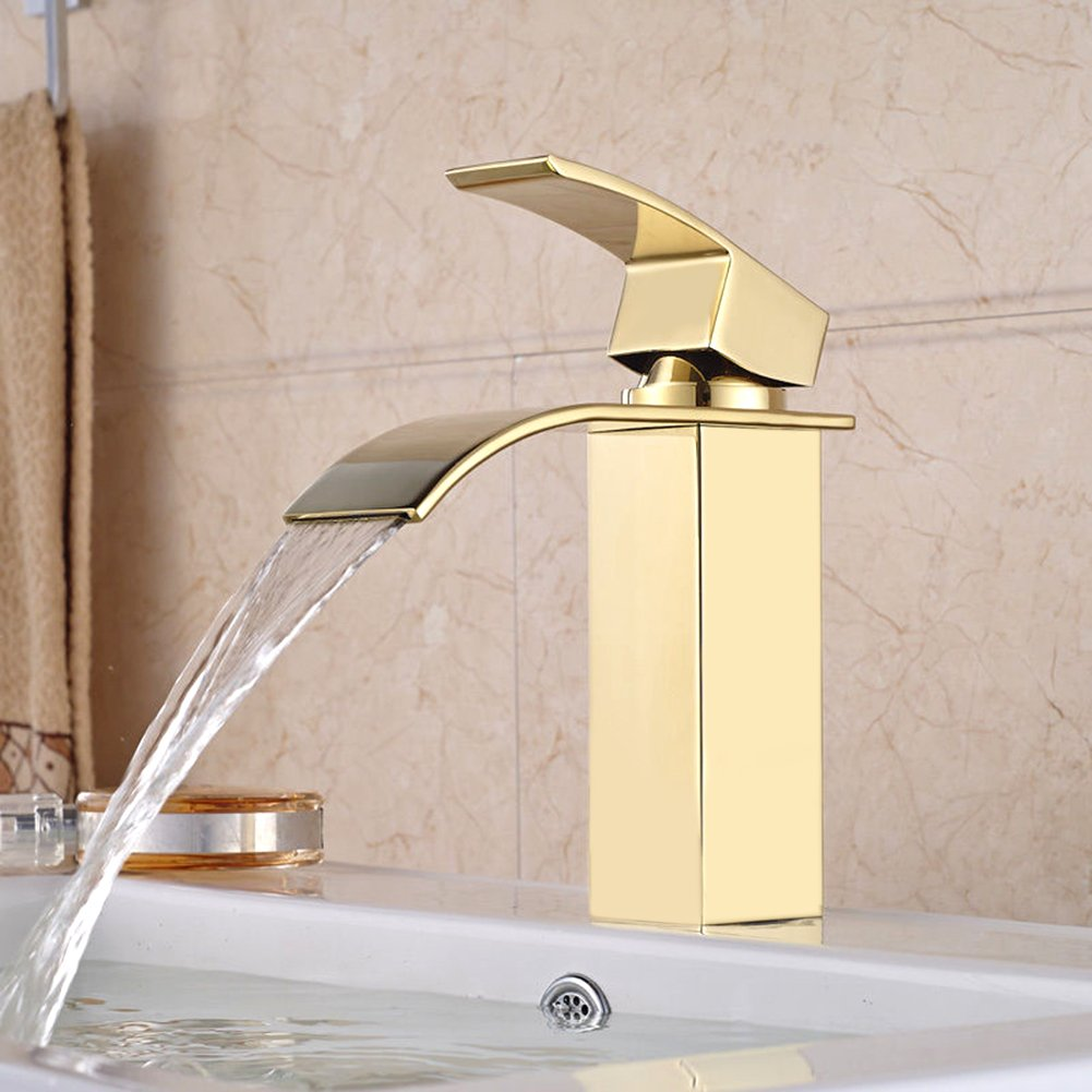 Gold Plate Bathroom Basin Faucet,Modern Commercial Waterfall Spout Faucet Single Handle for Kitchen Bathroom Basin Mixer Tap