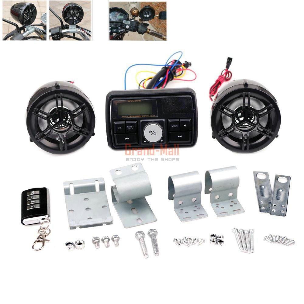 Motorcycle Handlebar Security Anti-theft Alarm System FM Radio Stereo Speaker USB SD MP3 Player by CISUNG