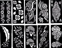 Tattoo Stencil (10 Sheet) Henna Designs Temporary Tattoo / Self-Adhesive - Template