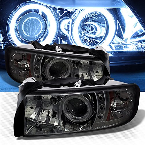 Xtune Smoked CCFL Halo LED 1994-2001 Dodge Ram Projector Headlights Smoke Lamp Pair Left+Right 1995 1996 1997 1998 1999 - 1994 Headlamp