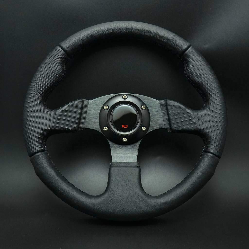 Wotefusi 320mm Sport Racing Volant Cuir v/éritable Plat w//Corne Bouton Noir
