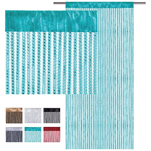 Fadenvorhang Lurex - Optik, Auswahl: türkis - pfauenblau 90 x 200 cm