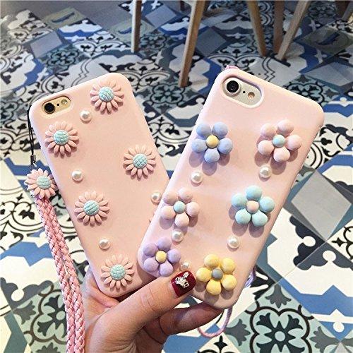 Hülle für iPhone 7 ,Schutzhülle Für iPhone7 3D Gänseblümchen Muster Silikon Schutzhülle mit Schlinge ,cover für apple iPhone 7,case for iphone 7 ( SKU : Ip7g0561a )