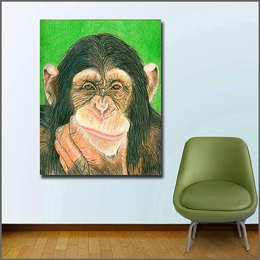 wojinbao Sin Marco Impresión Graffiti Art chimpancé Lienzo Cuadros ...