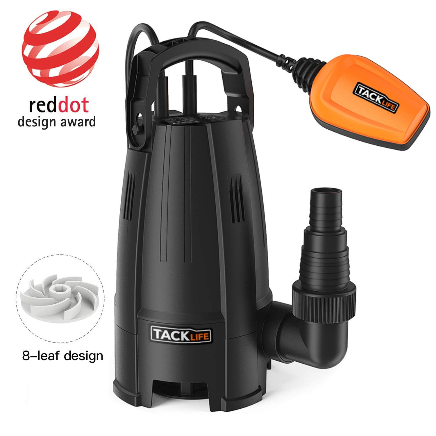 TACKLIFE Submersible Water Pump, 400W 9000 L/h Clean Dirty Water, 8-Blade impellers, Max Granule 25 mm, Height 5 m, Maximum Depth 6 m, Cable 10 m, Heavy Duty Float Switch GSUP2B