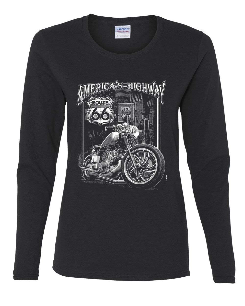 America S Highway Tee Route 66 Mc Motorcycle Chopper Bobber 1321 Shirts