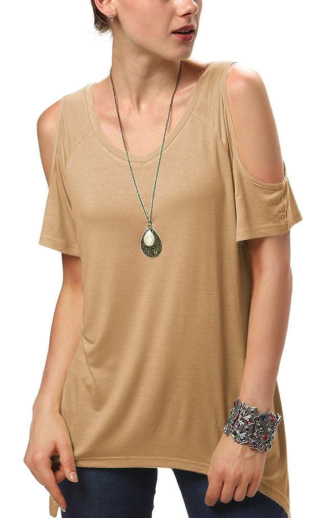 Urban GoCo Donna Camicia Spalla-off Tunica Tops Orlo Irregolare Moda T-Shirt HY-141136107