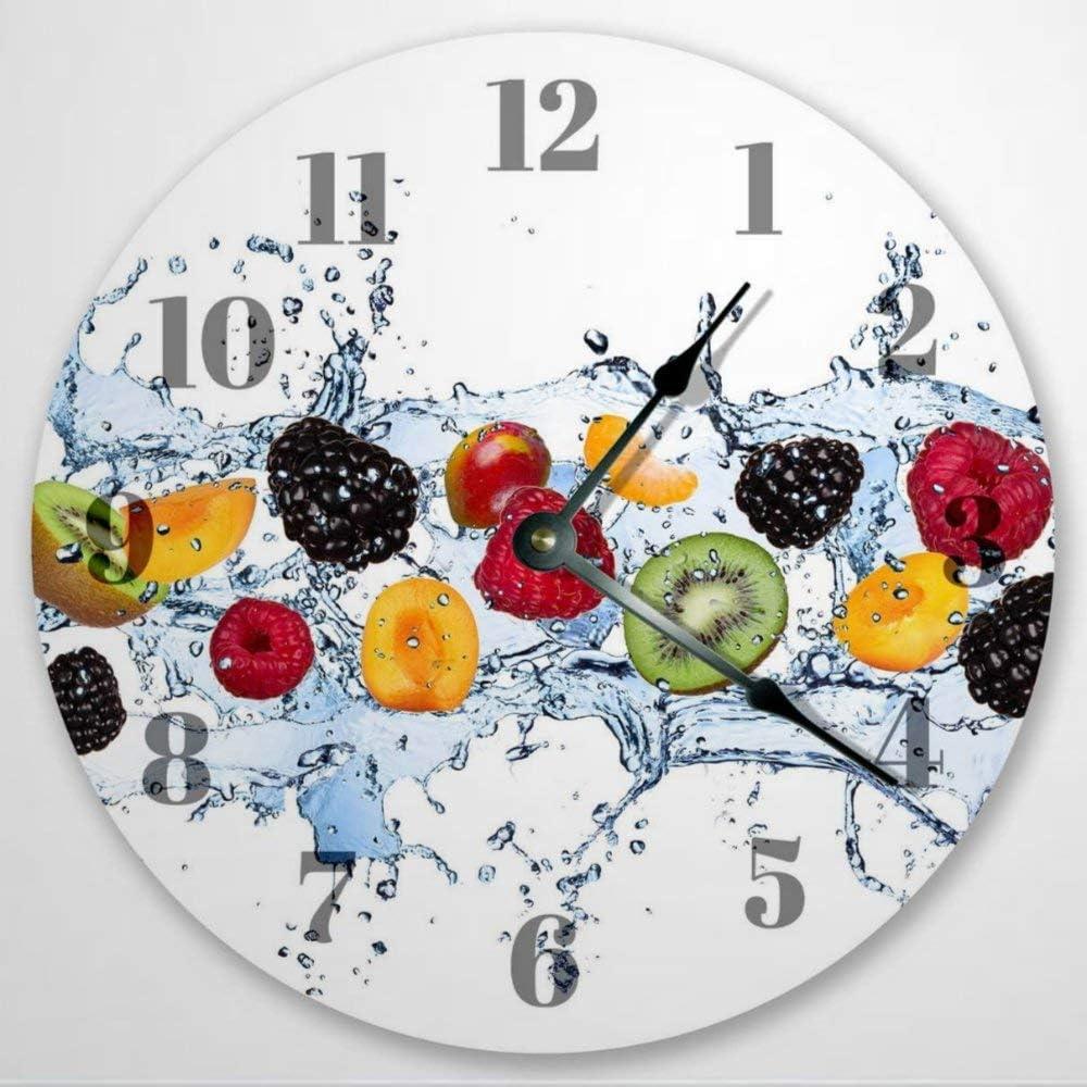 Fruits in Water Splash Clock Kitchen Wall Clock Food Clock Classroom Clock Wall Clock Clock Wall Clock 12 Inch Wooden Wall Clock, Battery Operated, Farmhouse Wall Decor Home Decor