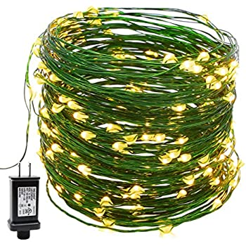 YULETIME Fairy String Lights with Adapter, 66Ft 200 LEDs Waterproof Starry Copper Wire Lights, Home Decor Firefly Lights for Garden Backyard Christmas Tree (Warm White, Green Wire)