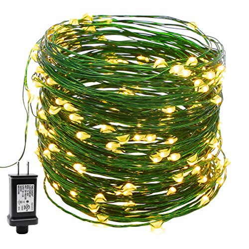 YULETIME Fairy String Lights with Adapter, 66Ft 200 LEDs Waterproof Starry Copper Wire Lights, Home Decor Firefly Lights for Garden Backyard Christmas Tree (Green Wire, Warm White)