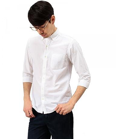 Seersucker 7/10 Sleeve Buttondown Shirt 3216-299-1126: White
