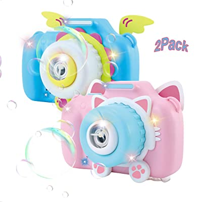 WTOR 2Pack Bubble Machine Camera Automatic Bubble Blower Marker Kids Blowing Toys with Music Lights Strap Blue and Pink Colors for Kids Toddlers Boys Girls: Toys & Games