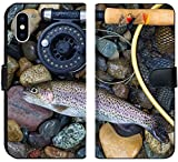 Luxlady iPhone X Flip Fabric Wallet Case Image ID: 34662975 Top View of a Single Native Wild Trout Next to Fishing Reel Landing net