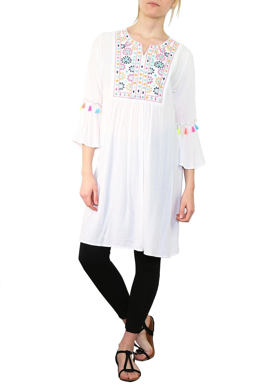 5918a61e3a393f chic Damen Sommer Tunika mit Trompetenärmel und Folklore Stickerei in  Hippie Style Bluse Longbluse Weiß