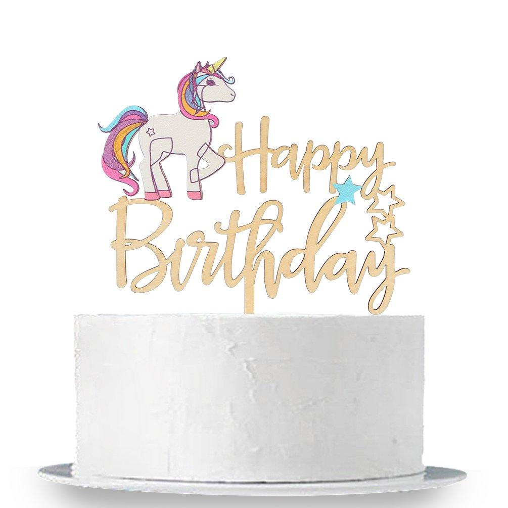 INNORU Unicorn Happy Birthday Cake Topper - Wooden Cake Topper Birthday Party Decoration Supplies