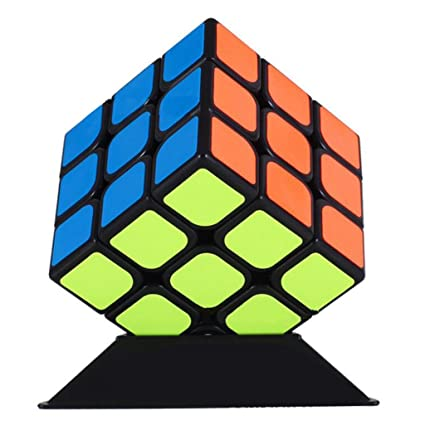 Zinnor Magic Puzzle 3x3 Speed Cube Toys, Sticker Smooth Speed Puzzle Magic Cube Twist Brain Teasers Iq Toys for Anti-Anxiety Adults Kids Stickerless Puzzle Toy(3x3x3 Black)