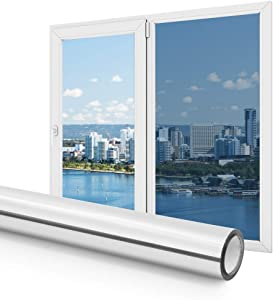 Haton Privacy Window Film, One Way Mirror Window Clings for Home, UV Blocking Reflective Mirror Heat Control Film, Daytime Privacy Protection, Removable Non-Adhesive Static Cling 17.5 X 78.7 Inch