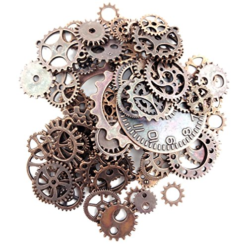 Fireboomoon 100 Gram (Approx 80pcs) Assorted Antique Steampunk Gears Charms Pendant Clock Watch Wheel Gear for Crafting, Jewelry Making Accessory (Copper) ()