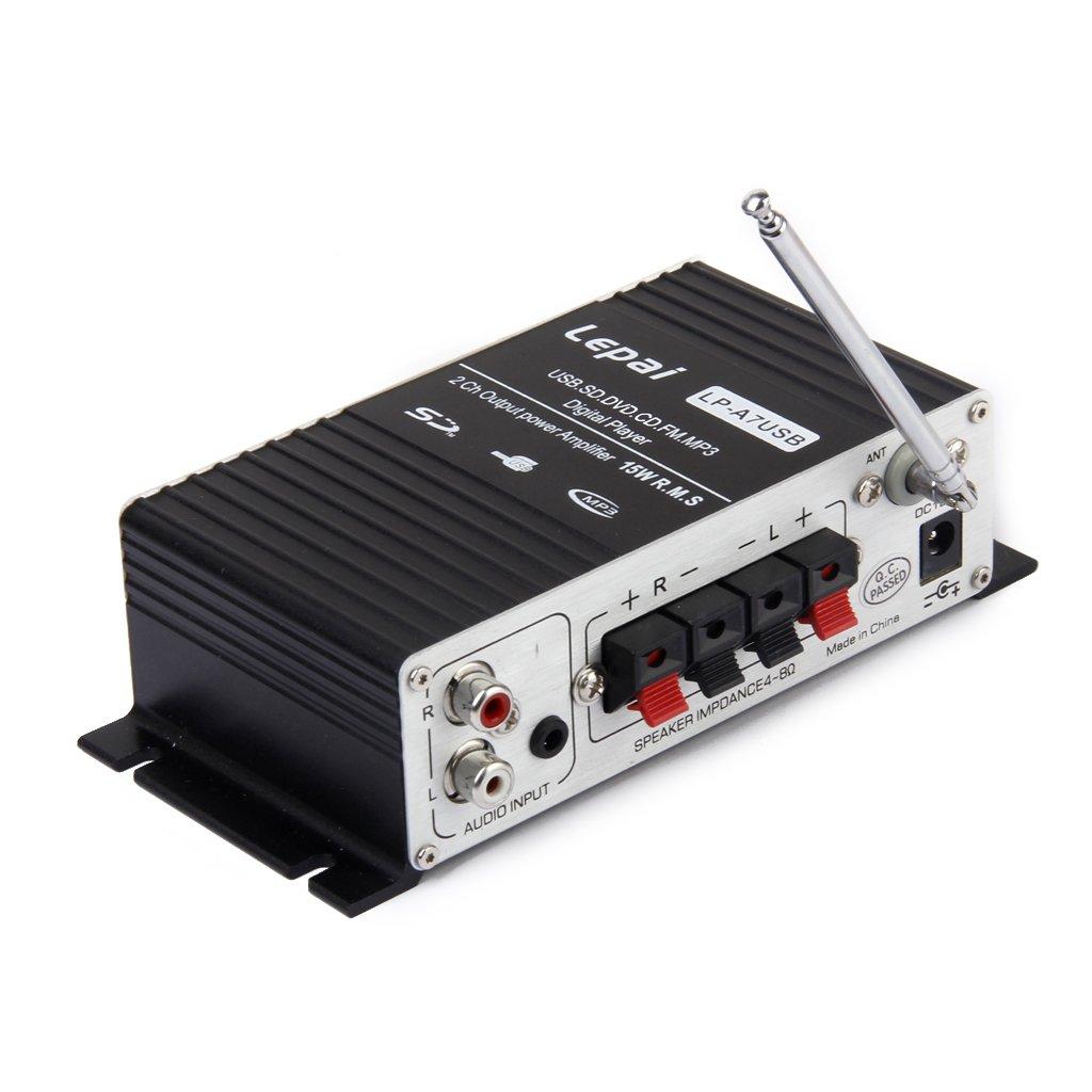 Amplificador Mini de audio (MP3, Hi-Fi, estéreo). amplificador de audio con USB/puerto SD FM con control remoto: Amazon.es: Electrónica