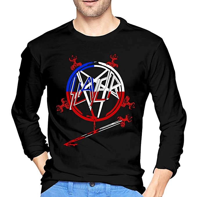 c82e80b6 Amazon.com: DonMMason Slayer Band Cotton Mens T Shirt Funny Long Sleeve Man  T Shirts Black: Clothing