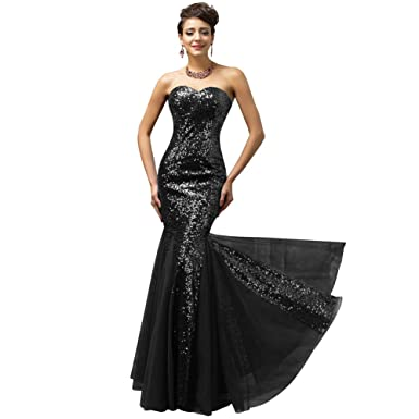 Woolala Womens Long Sequin Overlay Formal Dresses Bodycon Fishtail Design for Evening Party/Cocktail/