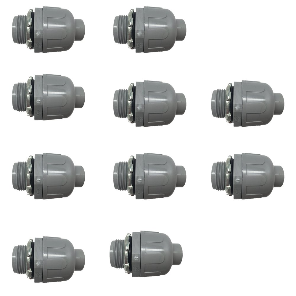 Pro Line Series 10 Pack - 1.5'' Non-Metallic Electrical Liquid Tight Conduit Straight Fittings - 5105112050-10