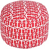 Surya Contemporary Round pouf/ottoman 20''x20''x13'' in Red Color From Surya Poufs Collection