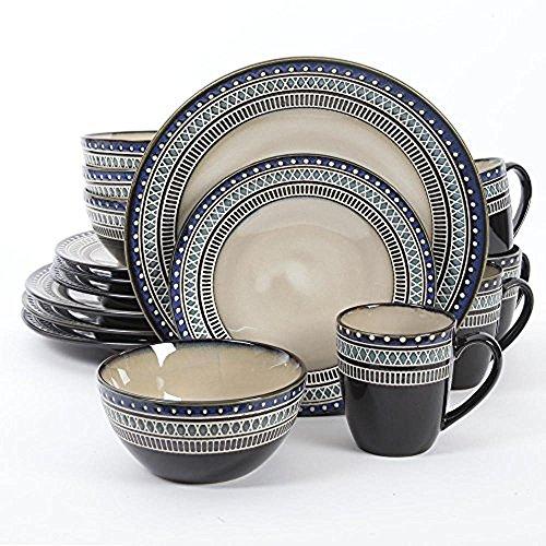 Gibson Magello 16 Piece Dinnerware Set, Cream/Blue