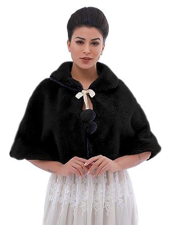 Amazon com: heytech Women's Faux Fur Shawls Capes and Wraps Bridal